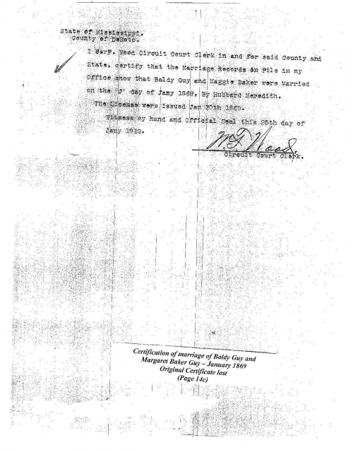 Certification of marriage of Baldy Guy and Margaret Baker-Guy January 30, 1869