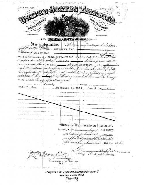 Margaret Norton-Guy's Pension Certificate for herself and her minor child Kate Lou Guy