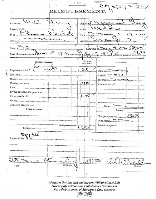 Margaret Norton-Guy has died and her son William (Uncle Bill) successfully petitions the United States Government for re