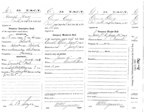 George Guy's Enlistment Record in the Civil War June 4, 1863