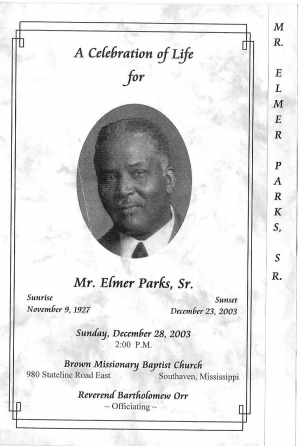 Elmer Parks Sr. was the husband of Shirley Thornton-Parks (5th Generation)