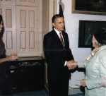 Gertrude shaking hands with the President