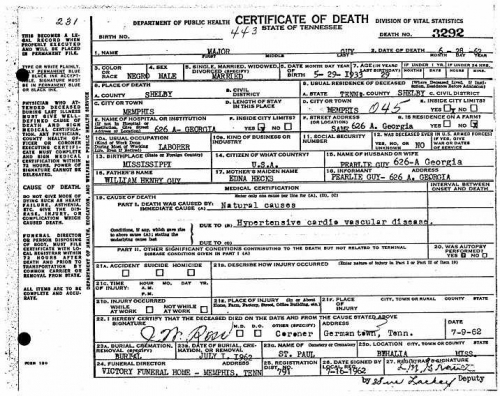 Major Guy Sr.'s Death Certificate