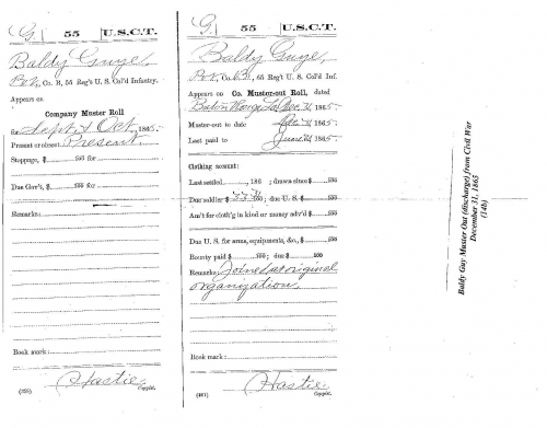 Baldy Guy's Muster Out (discharge) from Civil War December 31, 1865