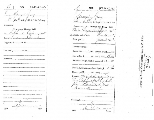 George Guy's Muster Out (discharge) from the Civil War December 31, 1865