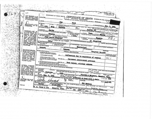 Thomas (Tom) Ward's Death certificate.