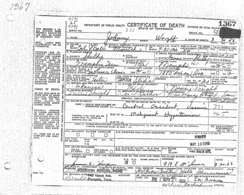 Johnny Wright's Death Certificate