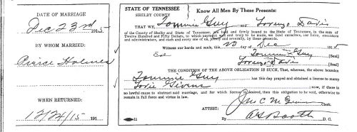 Tommie Guy Sr.'s Marriage License